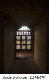 A window decorated with carvings. Bir Singh Palace or Bir Singh Dev Palace. Dati. Madhya Pradesh