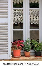 Window decorated with picturesque drapes and blooming flowers on a window ledge made of clay bricks of an old house in a mediterranean village