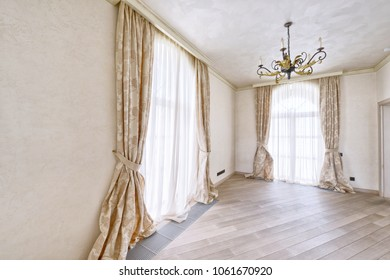 Window decoration curtains.House interior.