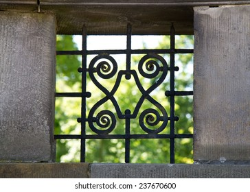 Window with decorative iron bars