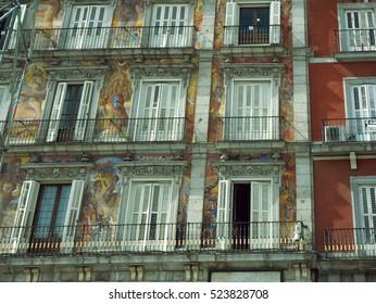 window design and architecture on Plaza Mayor Madrid Spain