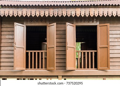 Window design of a traditional malay house from the State of Pahang, Malaysia.