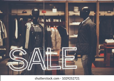 window display with text SALE in a Clothing store at  shoppingmall