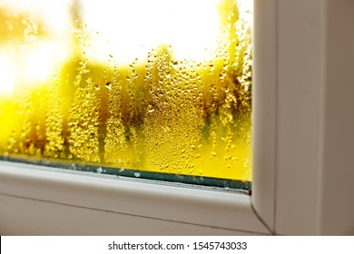 Window drip due to bad ventilation inside house. Condensation on glass during cold weather. High humidity is cause of mold (mildew, mould) on house or building surfaces. Water drop tracks on windows.