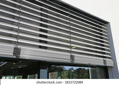 Window with external venetian blind, exterior shot