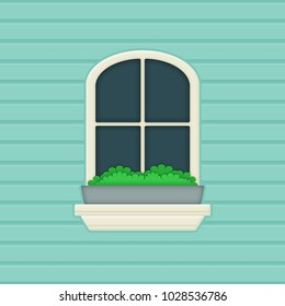 Window and flower box illustration on blue background wall; Planter outside a window