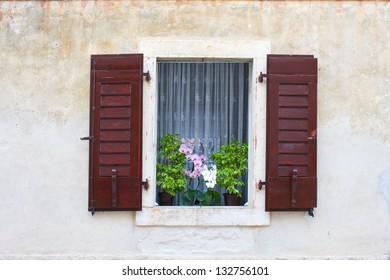 Window with Flowers, Dalmatia, Croatia