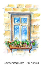 Window with flowers.Old town facade.Watercolor hand drawn illustration.Summer picture.