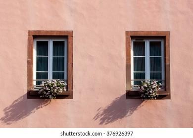 Window and flowers. Windows in Strasbourg.