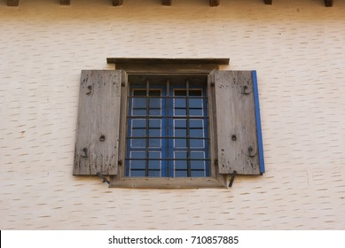 Window. Fortress of the island of Spinalonga. Leprosarium. Crete, Greece.