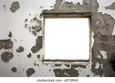 Window frame in an old cracked wall