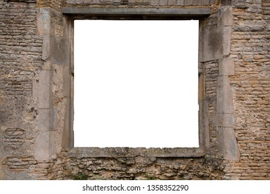 Window frame template with white copy space in the hole for your image insertion. View from an old and ancient brick and stone window