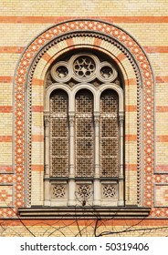 Window of the Great Synagogue (largest in Europe, second largest in the world) in Budapest, Hungary.