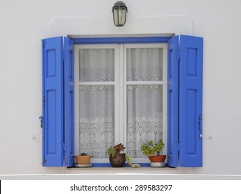 window of a greek building