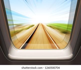 window of high speed train - motion blur