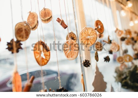Window home decoration with lights and citrus
