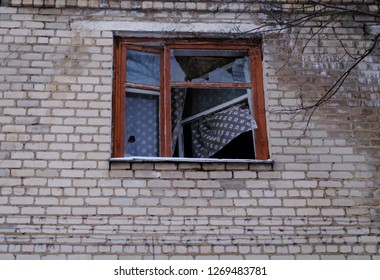 Window of a house destroyed by war.