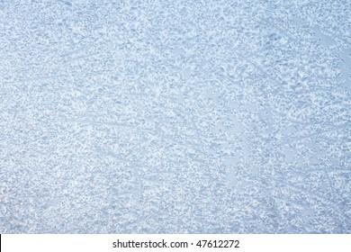 Window in ice in the winter