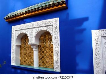 Window of Islamic museum in Jardine Majorelle, Marocco, Africa, very beautiful and laconic image