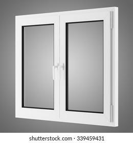 window isolated on gray background