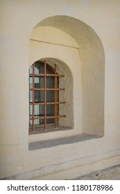 Window with a lattice of a medieval prison. Suzdal. Russia