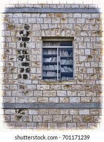 Window of library with books on the shelf. Window of the old house in the Arab city of Akko in Israel. Vintage style toned picture