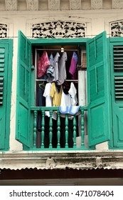 a window in the little india in the city of singapore in southeastasia