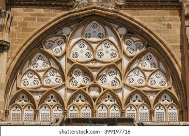 Window of medieval Gothic church converted later into mosque, Nicosia