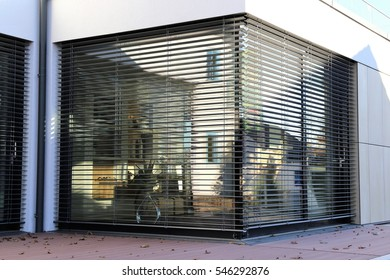 Window with modern shutter, exterior shot