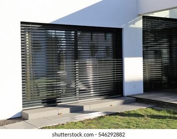 Window with modern shutter, exterior shot