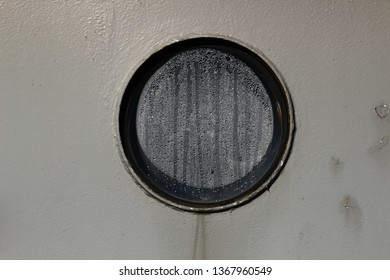 window with moist on in houseboat