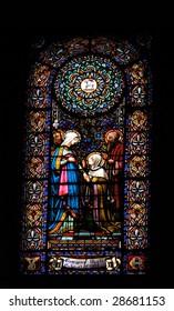Window in the Montserrat cloister's basilica