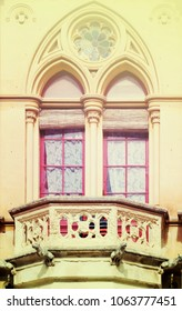 Window of  Neogothic house at town street of Mdina. Malta