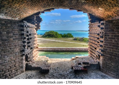 Window to the ocean at Fort Jefferson at the Dry Tortugas National Park outside Key West, Florida. Fort Jefferson was built to protect one of the most strategic deepwater anchorages in North America.