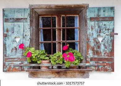Window in old farmhouse in Austria