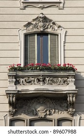 window of an old palace in milan