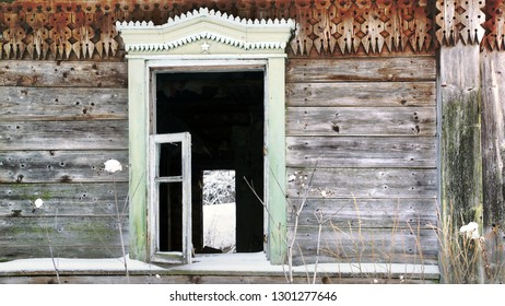 Сlose-up window in an old ruined hut
