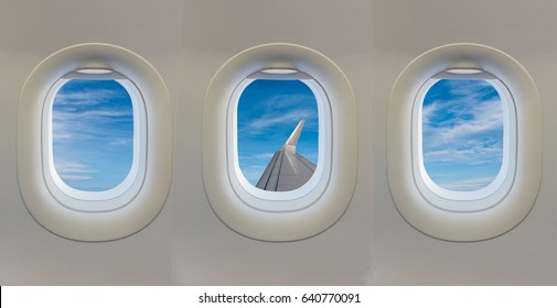 window on airplane with blue sky.