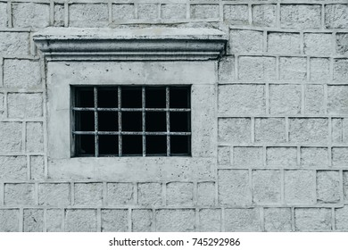Window on an old gray stone wall with plant. Place for text