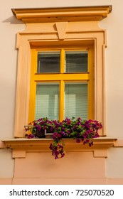 A window on the old house with flowers