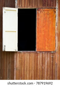 Window on old wooden house