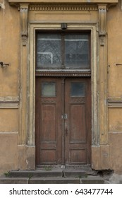 Window on red facade.
