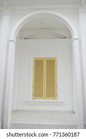 the window on the white building