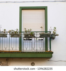 window on the white building facade in Bilbao city Spain