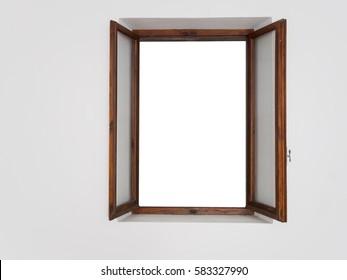 Window, open. White space inside wooden frame.