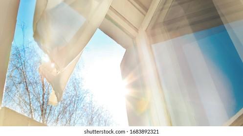 Window is open wind blows curtain sun shining through window blue sky background - Shutterstock ID 1683892321