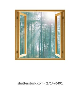 window open wooden  frame forest view morning sunlight