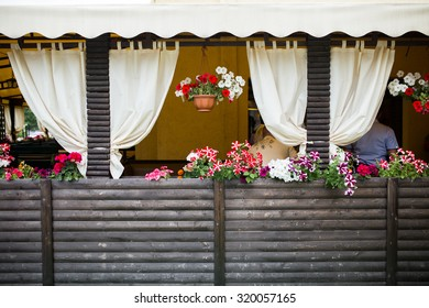 Window with Open Wooden Shutters, Decorated with Fresh Flowers, Retro Effect