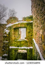Window openings in the fog at the Baden-baden ruins of the Middle Ages old castle Altes Schloss Hohenbaden in the Black Forest of the Baden-Wurttemberg region in the southwest of Germany