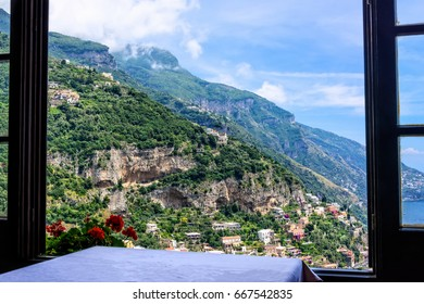 Window overlooking the Amalfi Coastline in Positano, Italy